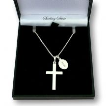Sterling Silver Cross with Engraved Tag Memorial Necklace